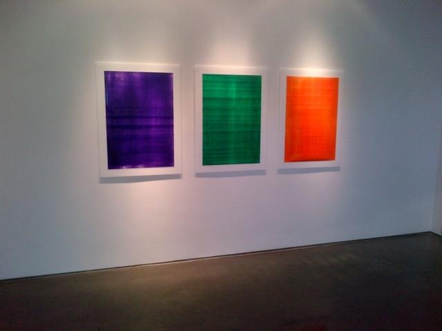 Purple, Green, Orange  Acrylic on powdered stone paper  32x66 inches 2013