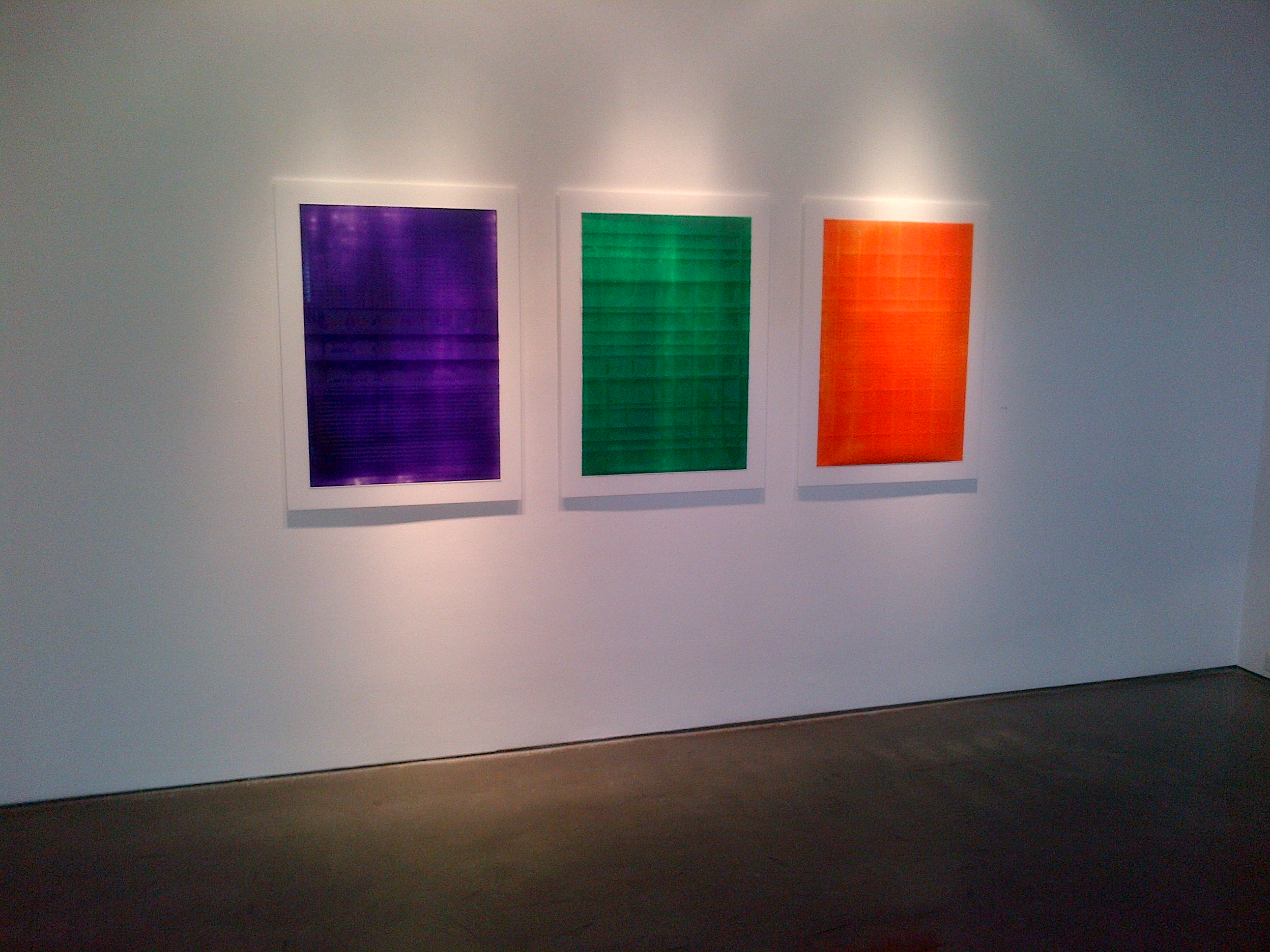 Purple, Green, Orange  Acrylic on powdered stone paper  32x66 inches 2013
