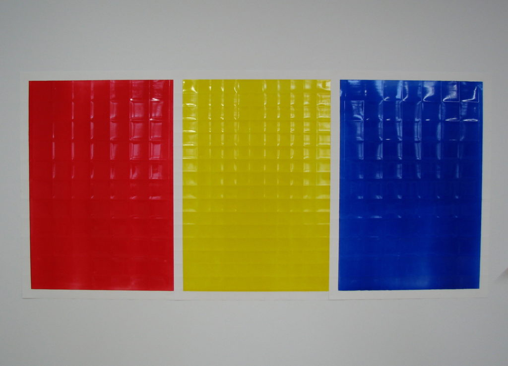 Red, Yellow, Blue  Acrylic on powdered stone paper  32x66 inches 2013